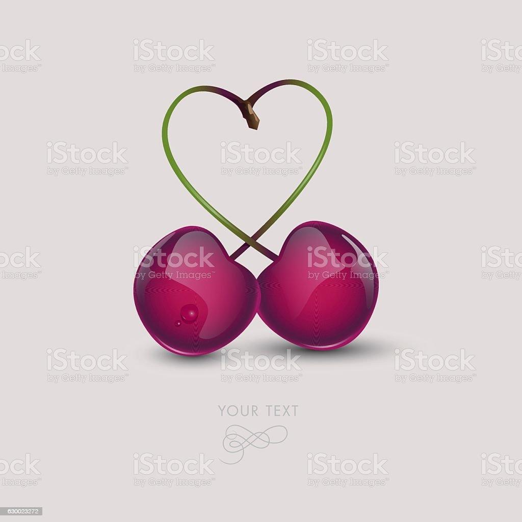 twin_cherries_white_background vector art illustration