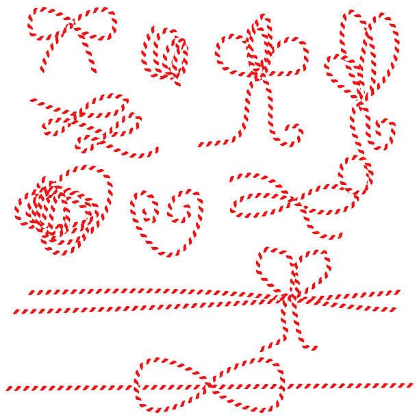 lin, sznurów łuków, strzał prezent wiązaniami. czerwony i biały układ naciągu - sznurek stock illustrations