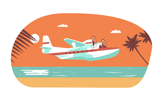 Twin-engine seaplane on background of abstract tropical landscape. Vector illustration.