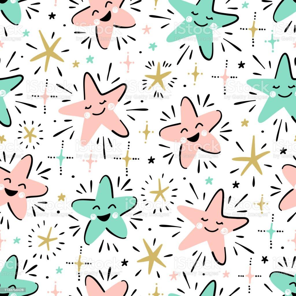 Twinkle Cute Star Vecteur Seamless Pattern Pour Les Enfants