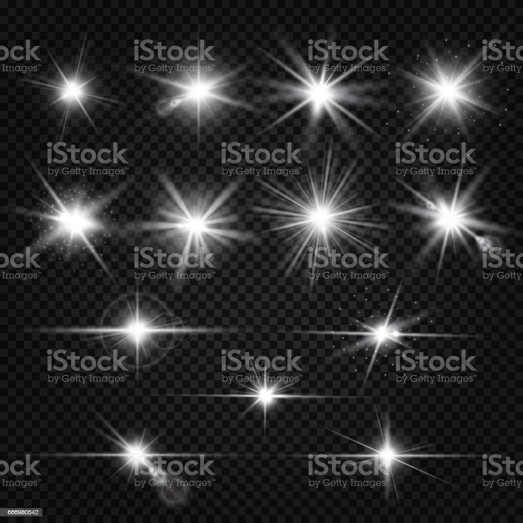 Twinkle lens flares, glare lighting vector effects vector art illustration