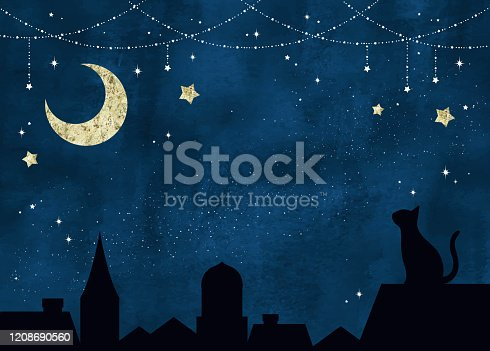 istock Twinkle stars, moon and cat at night 1208690560