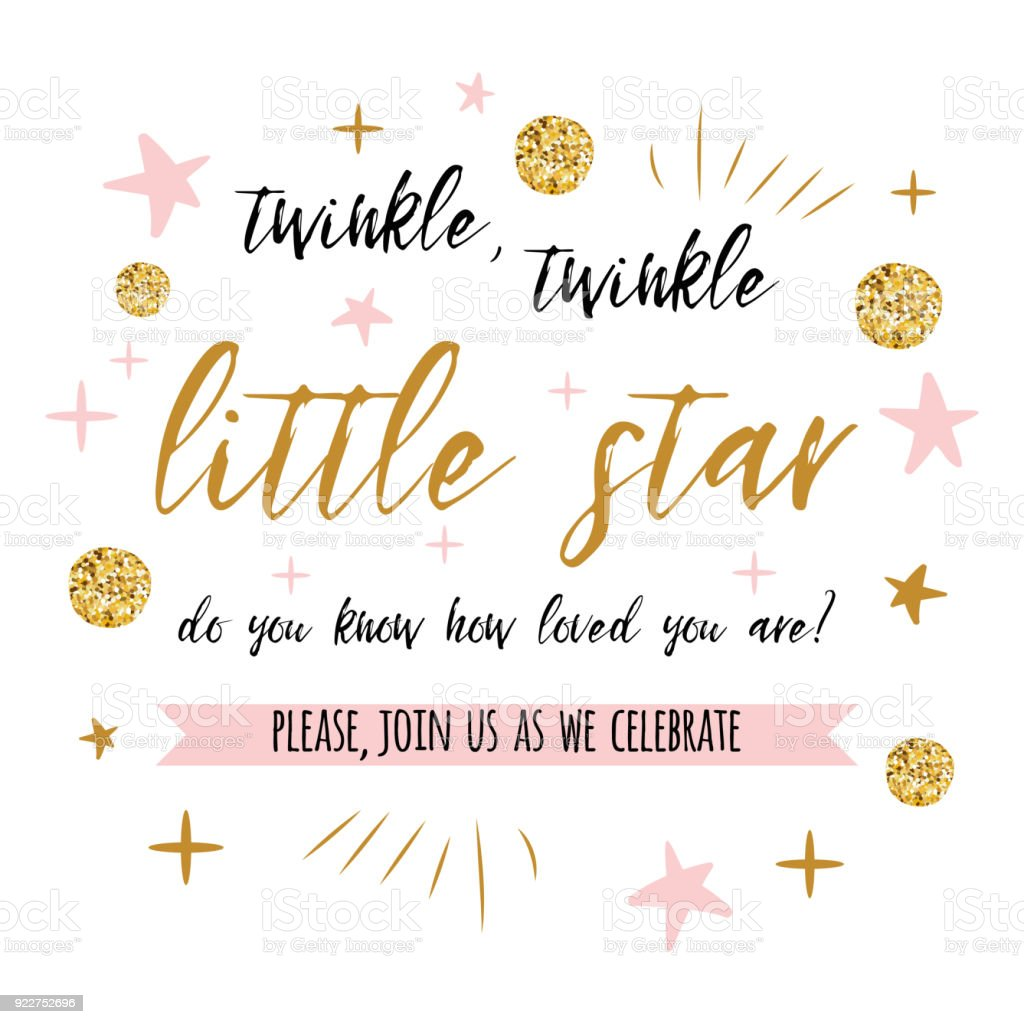 twinkle twinkle little star text with gold polka dot and