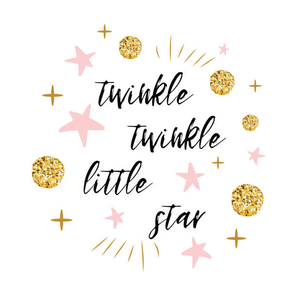 Twinkle twinkle little star text with gold polka dot and pink star for girl baby shower card template Twinkle twinkle little star text with cute gold, pink colors for girl baby shower card template Vector illustration. Banner for children birthday design, logo, label, sign, print. Inspirational quote baby shower stock illustrations