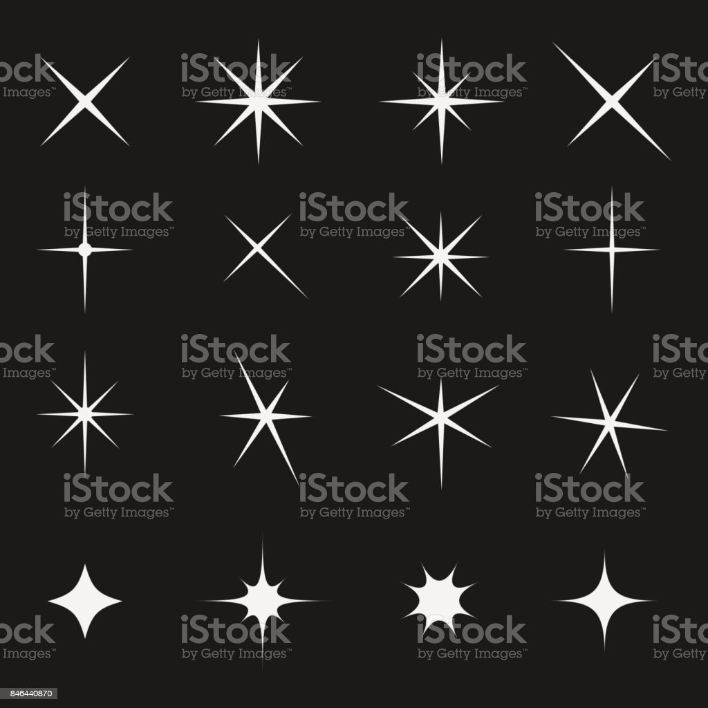 Twinkling star set bright on black vector art illustration