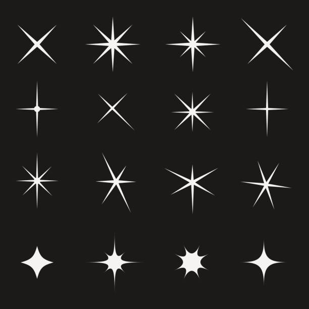 twinkling star set bright on black - glowing stock illustrations