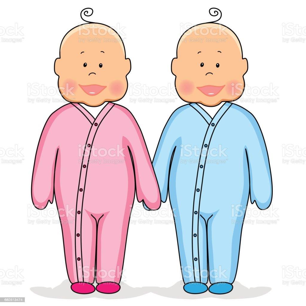 手を繋いでいるかわいい赤ちゃん双子 - いたずら書きのベクターアート