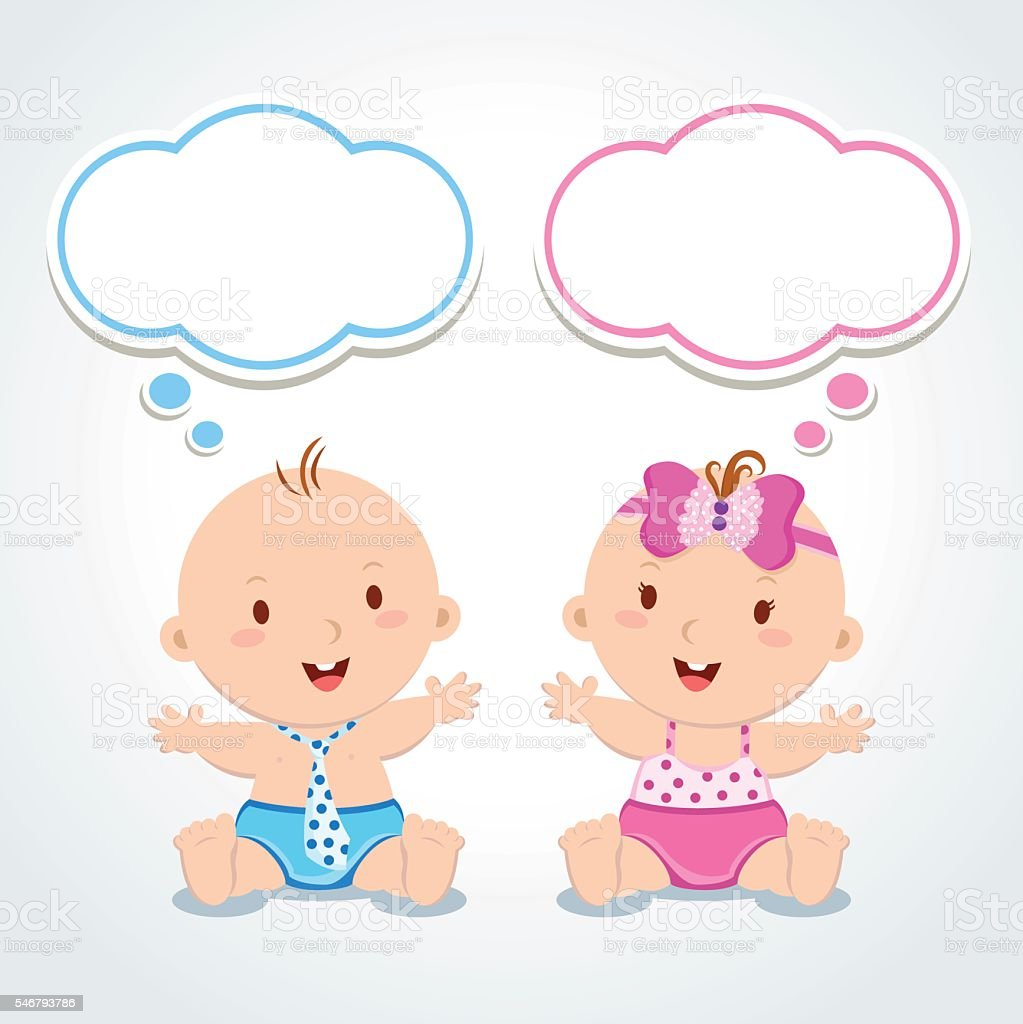 Twins. Babies with thinking bubbles. vector art illustration