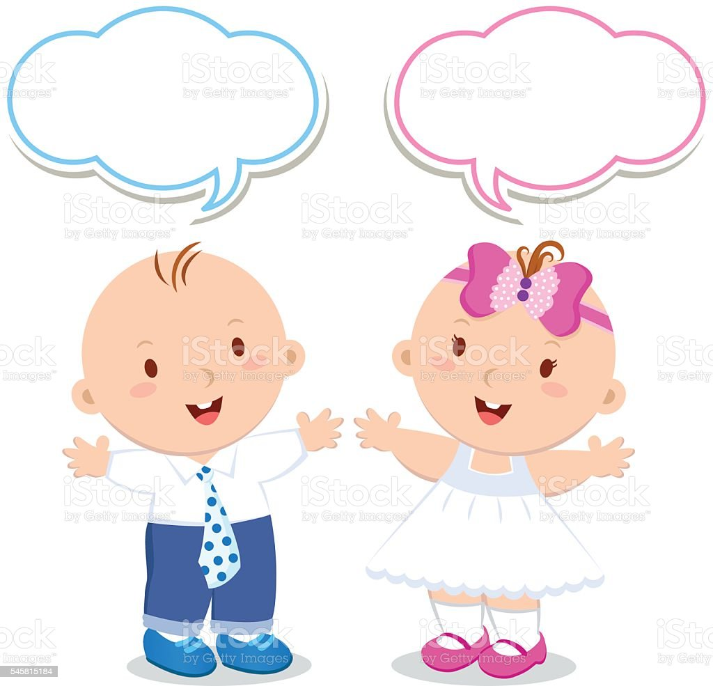 Twins. Baby boy and girl - illustrazione arte vettoriale