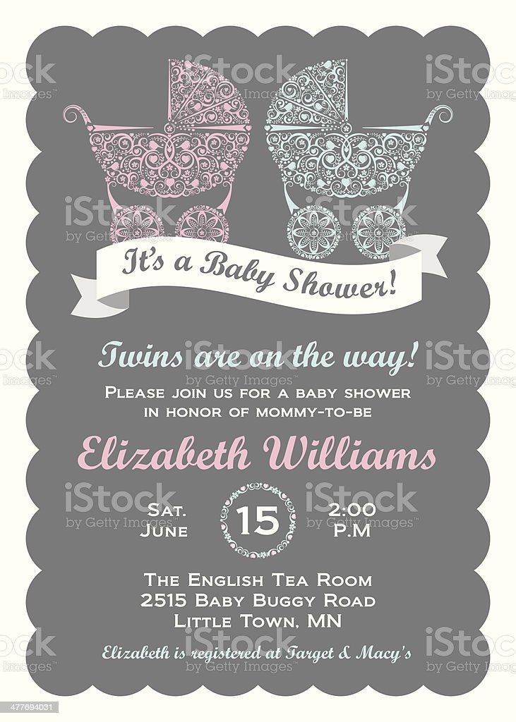 Twins Baby Shower Invitation vector art illustration