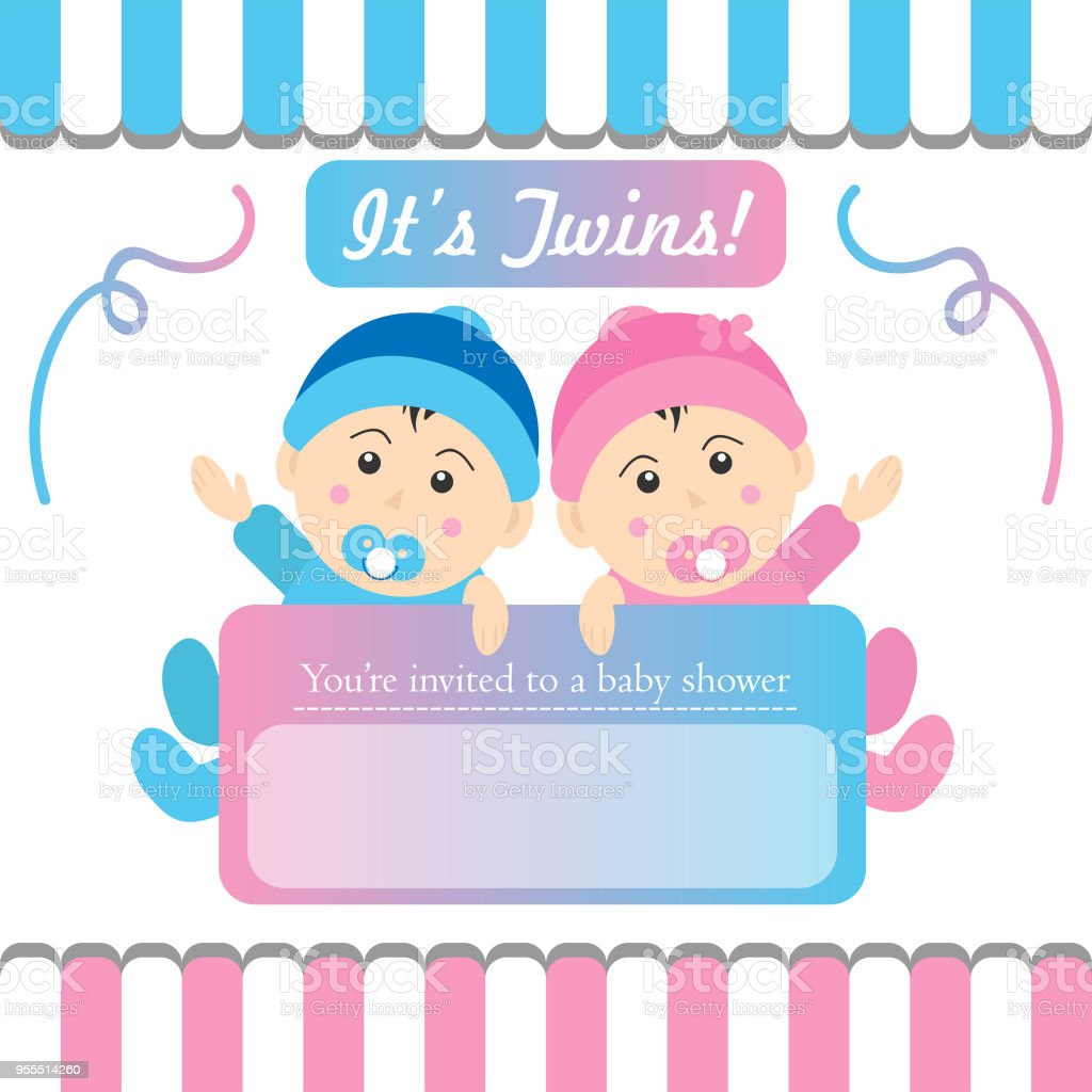 Twins baby shower invitation stock vector art more images of baby twins baby shower invitation royalty free twins baby shower invitation stock vector art amp stopboris Image collections