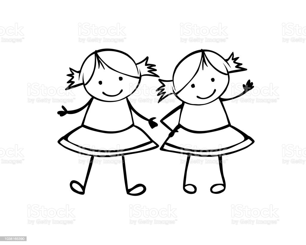 twins girls sisters linear people in the childrens style stock The Twins Got twins girls sisters linear people in the children s style illustration
