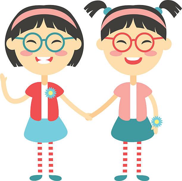 ilustrações, clipart, desenhos animados e ícones de gêmeos crianças felizes segurando mãos menino e menina ilustração vetorial - irmã