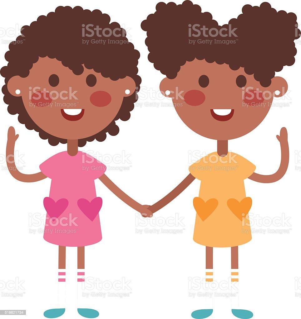 Twins happy kids holding hands boy and girl vector illustration vector art illustration