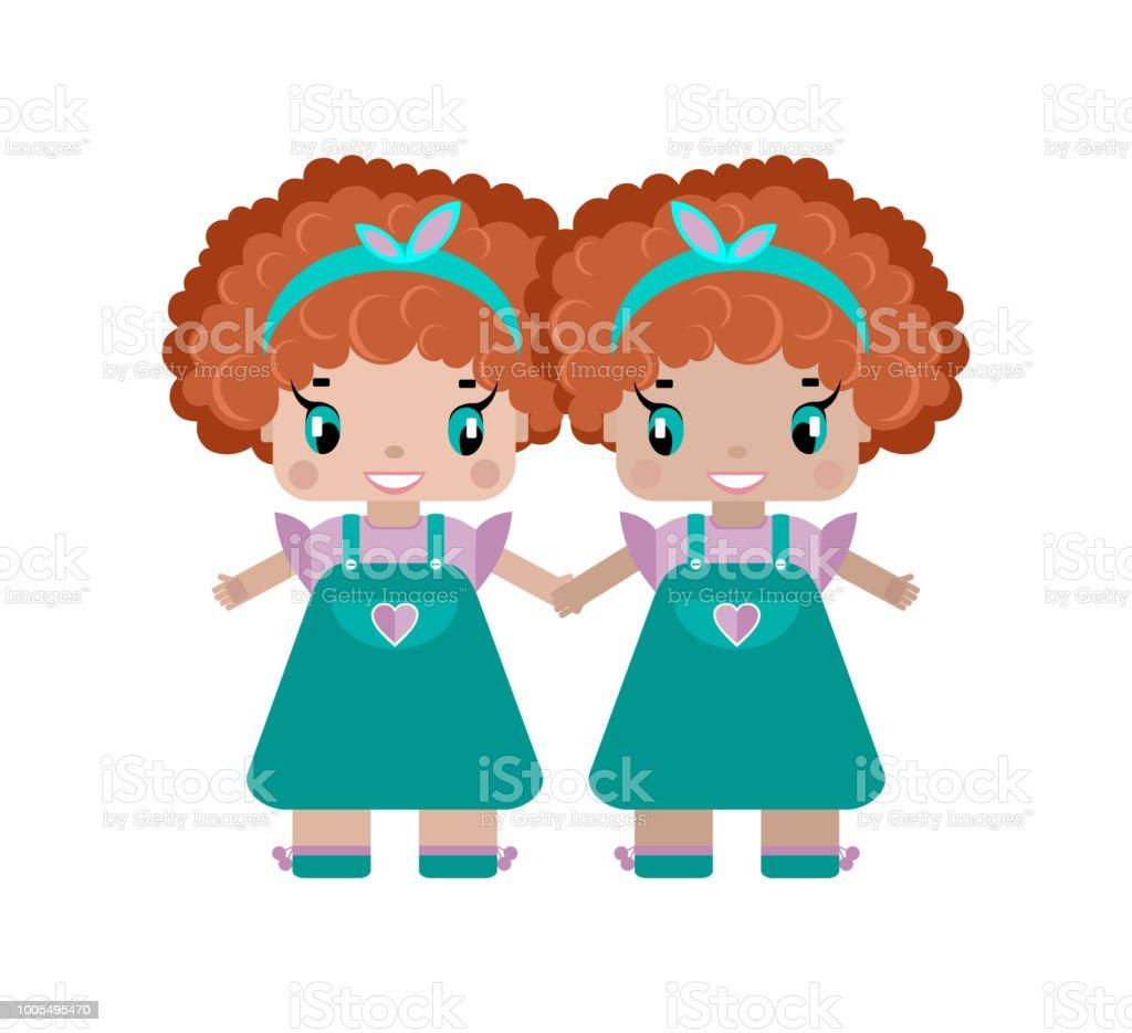 女の子の双子は手を握る2 人の姉妹が赤い巻き毛の女の子かわいい - 12