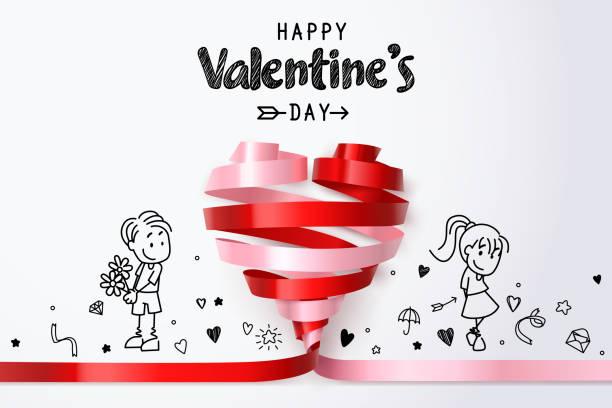 illustrations, cliparts, dessins animés et icônes de twirl ruban coeur rouge et rose et couple doodles, remplacé la femme de ruban rose et remplacé l'homme en rouge deux fusion de différentes couleurs et d'y adhérer pour construire coeur complet - époux