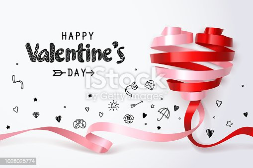 Twirl red and pink heart ribbon on white background, Replaced woman by pink and replaced man by red two different colors merge and join to build complete heart, vector art and illustration.