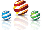twist 3d ball, can use for object printing, object isolated.