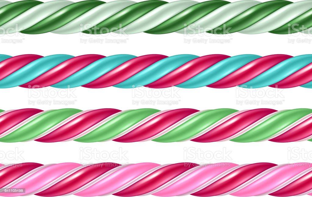Twisted cane colorful borders set. Vector illustration vector art illustration
