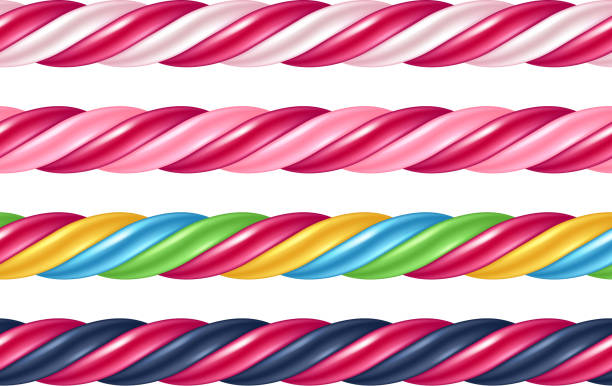 Twisted cane colorful borders set. Vector illustration Twisted candy cane colorful seamless borders set. Stick of hard candy pattern. Vector illustration. candy borders stock illustrations