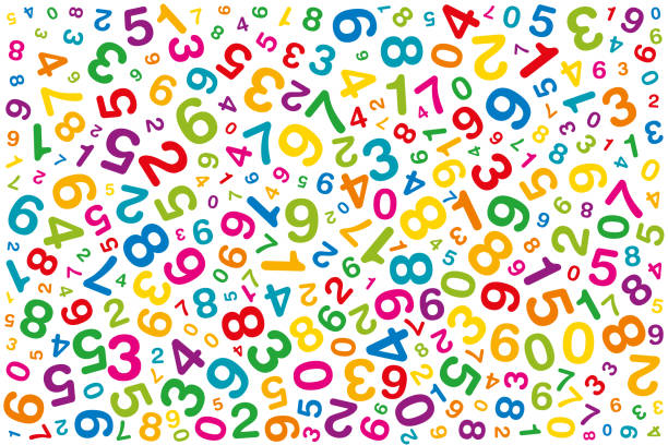 Twisted colored numbers on white background vector art illustration