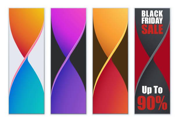 farbenfrohes design vertikale roll-up banner verdreht - verdreht stock-grafiken, -clipart, -cartoons und -symbole
