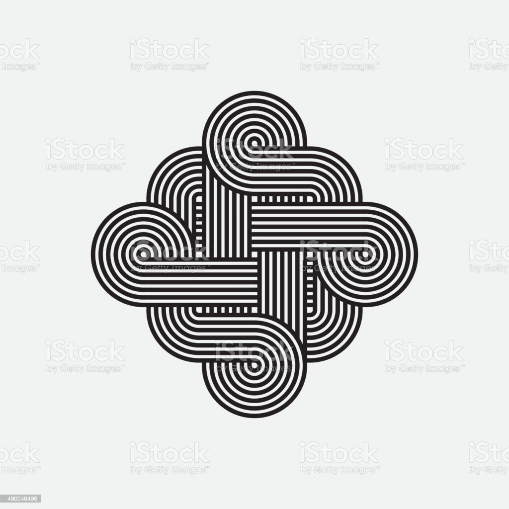Twisted lines, vector element, intertwined pattern vector art illustration