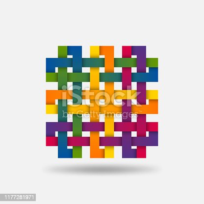Twisted ribbon design elementin rainbow colors. Vector illustration