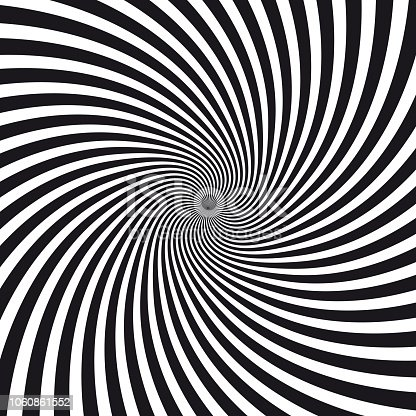 Vector Illustration of a beautiful, intense and vertiginous twisted spiral abstract black and white background