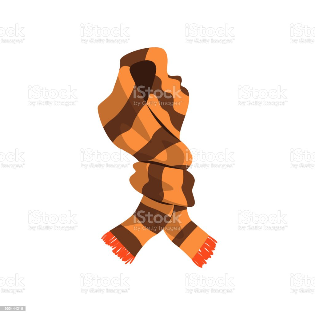 Twisted striped scarf in brown color with orange fringe on the ends. Winter accessory for women and men. Flat vector design royalty-free twisted striped scarf in brown color with orange fringe on the ends winter accessory for women and men flat vector design stock vector art & more images of art