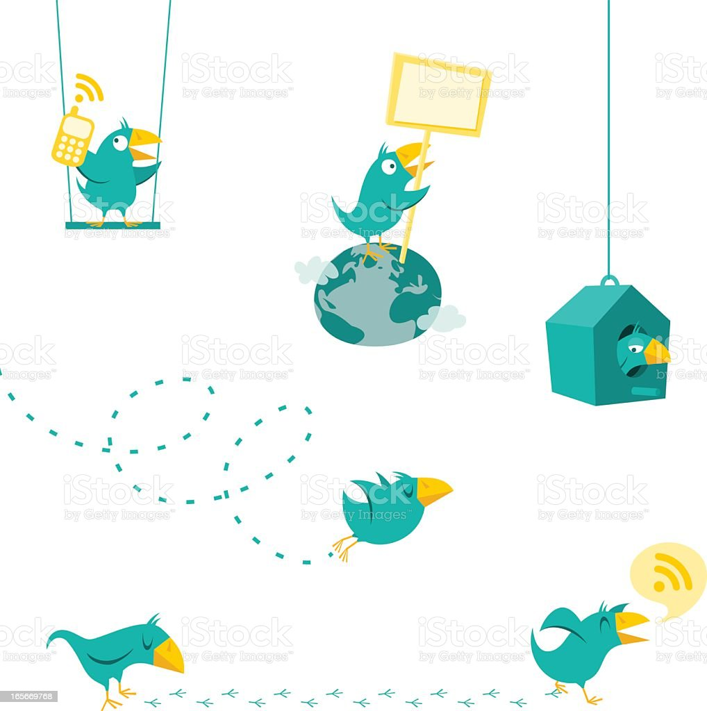 Twitter bird displaying the multiple functions of Twitter vector art illustration