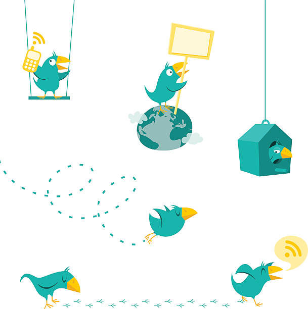 twitter bird displaying the multiple functions of twitter - twitter 幅插畫檔、美工圖案、卡通及圖標