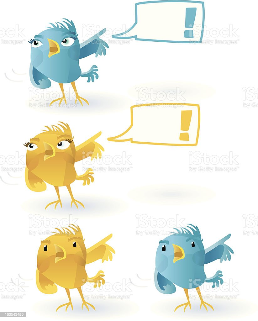 Twitter Bird  - excited  (with Speechballoon). royalty-free stock vector art