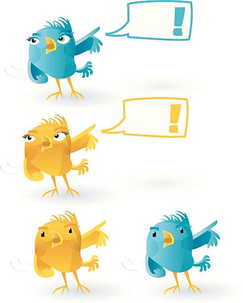 twitter bird  - excited  (with speechballoon). - twitter 幅插畫檔、美工圖案、卡通及圖標