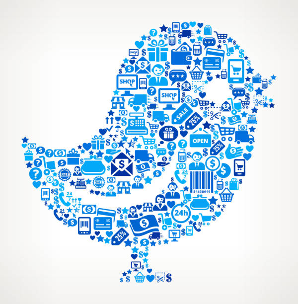 twitter bird shopping and commerce blue icon pattern - twitter 幅插畫檔、美工圖案、卡通及圖標