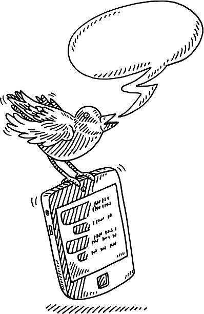 twitter bird speech bubble smart phone drawing - twitter 幅插畫檔、美工圖案、卡通及圖標