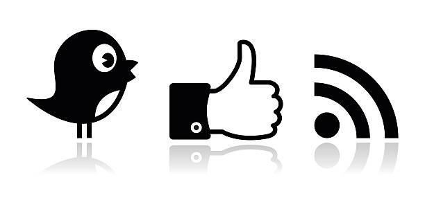 twitter, facebook, rss black glossy icons set - twitter 幅插畫檔、美工圖案、卡通及圖標