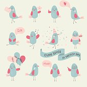 Vector set of cute birds in cartoon style