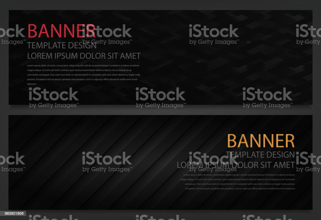 Two abstract black banners. Business design template. Website template. Horizontal banners set. Vector - Royalty-free Abstract stock vector