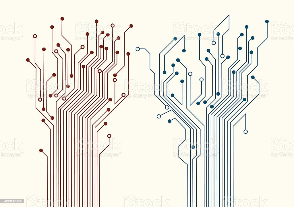 Two abstract circuit trees vector art illustration