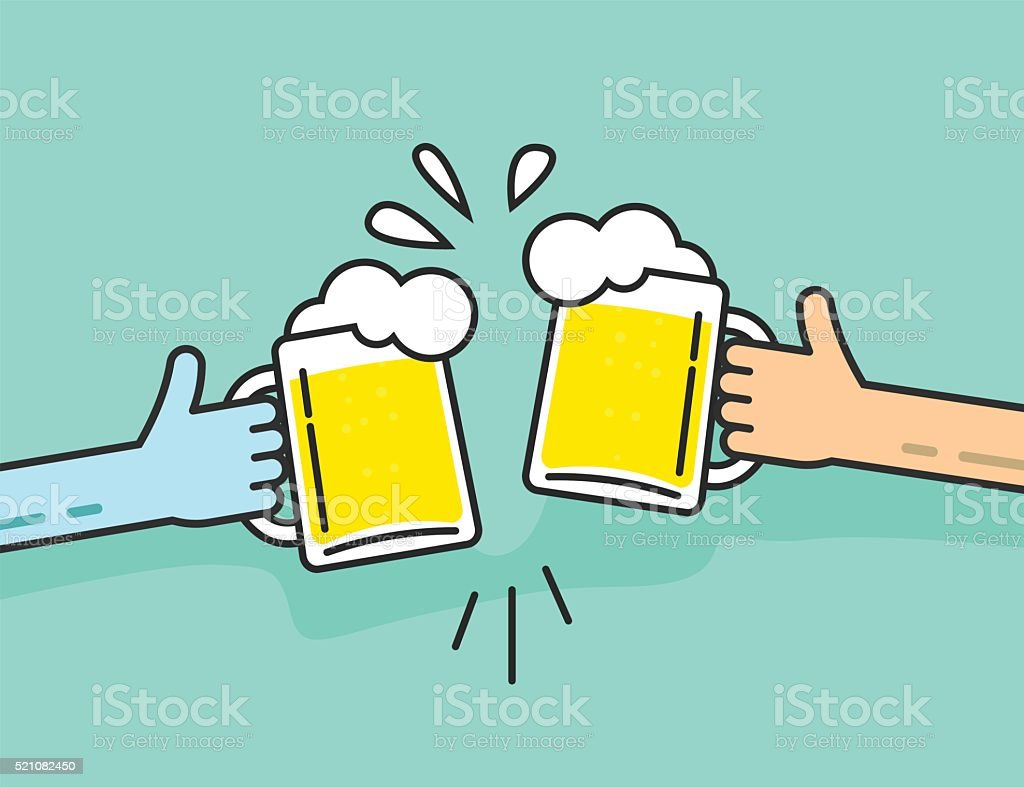 Two abstract hands holding beer glasses with foam clinking vector art illustration