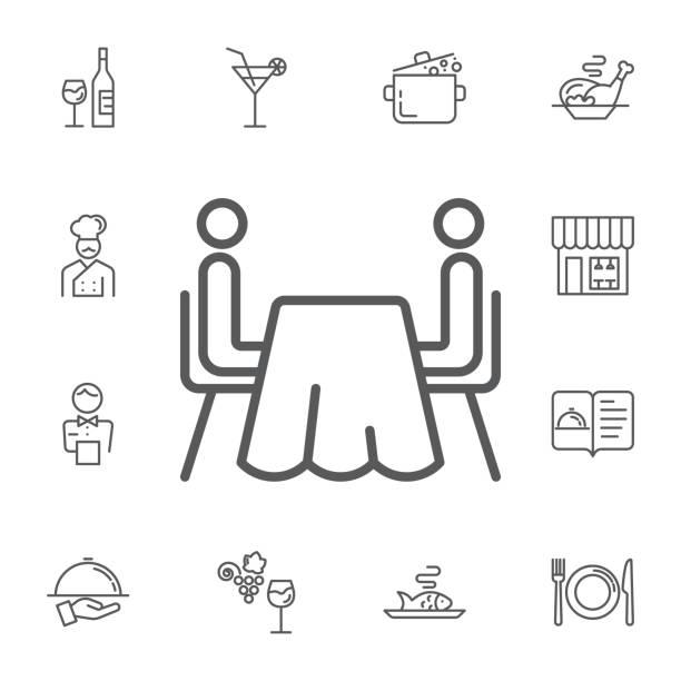 illustrazioni stock, clip art, cartoni animati e icone di tendenza di two abstract people sitting at a table.simple set of restaurant vector line icons. - dinner couple restaurant