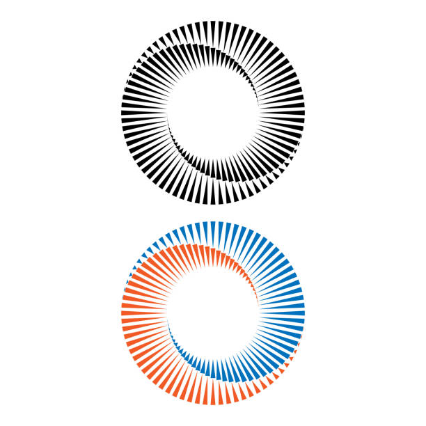 Two abstract spirals vector art illustration