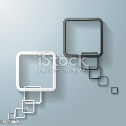 Two abstract rectangle speech bubbles on the grey background. Eps 10 vector file.