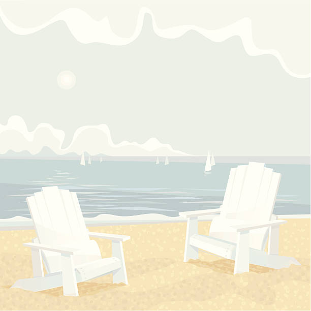 Two Adirondack Chairs on a Shore White Adirondack Chairs on a lake shore. Vector illustration. muskoka stock illustrations