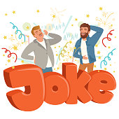 Two adult men loudly laughing after hearing funny joke. Colorful confetti flying in the air. Hahaha text. Cartoon people characters in casual clothes. Flat vector design isolated on white background.