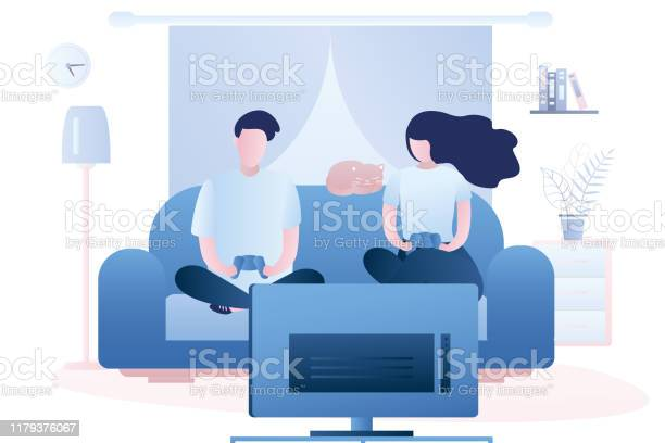 Two adults are holding a controllers and playing a game on tv living vector id1179376067?b=1&k=6&m=1179376067&s=612x612&h=nryjvynstwb4klts44wm8v4m8 0fiu8hbmyzbrx3dmg=