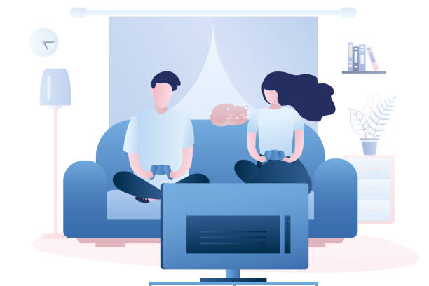 ilustrações de stock, clip art, desenhos animados e ícones de two adults are holding a controllers and playing a game on tv. living room interior with furniture - man joystick
