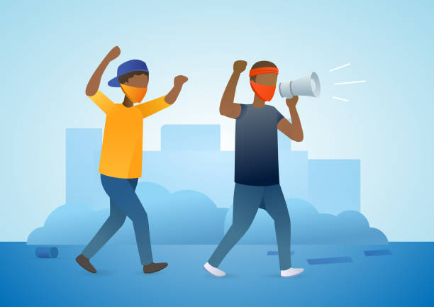 Two African American men go one by one. Tolerance and no racism concept. protest. Protest concept about human right of black people. Protest in USA. Vector flat illustration concept on blue background. police meeting stock illustrations