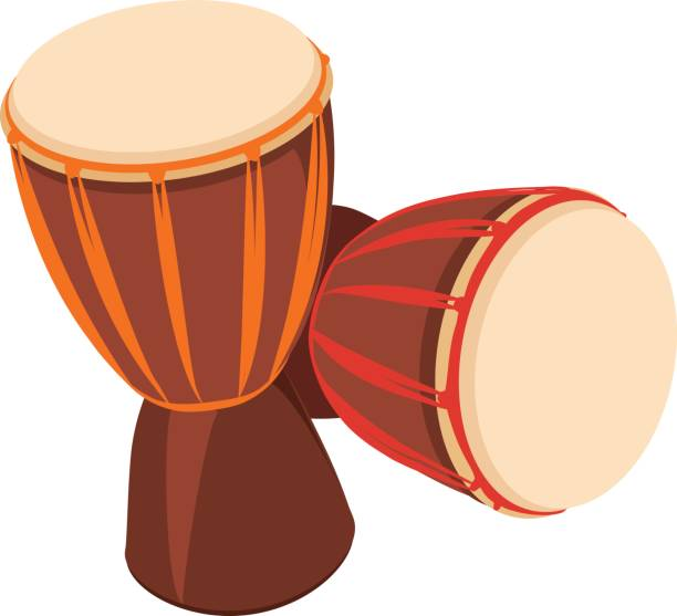 two african djembe drum. - instrument perkusyjny stock illustrations